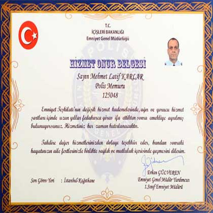 Certificate of High Honor